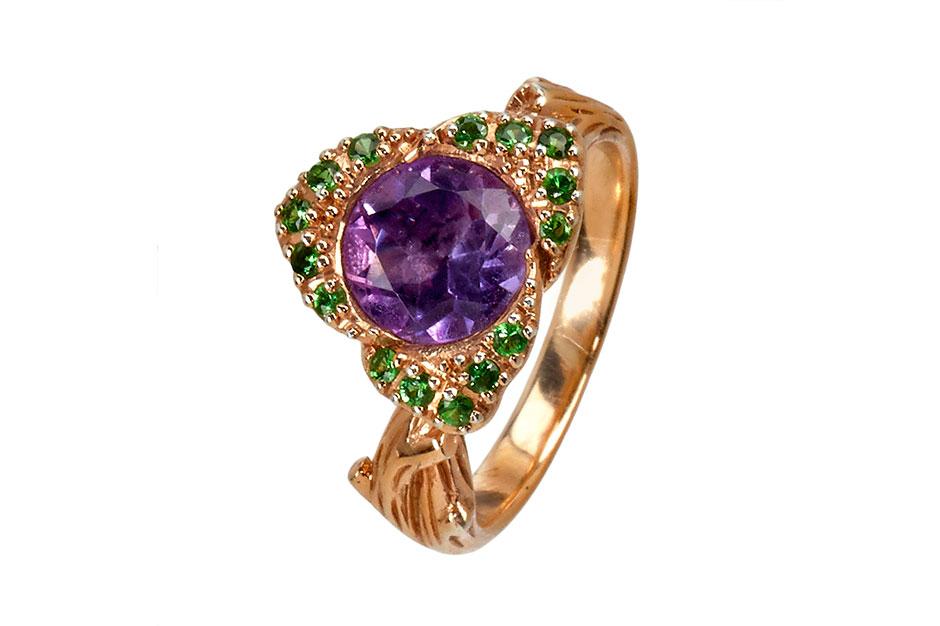Fiorelli Ring in Sterlingsilber mit Amethyst, Rosegold platiniert und grünen Granaten ab EUR 159,–