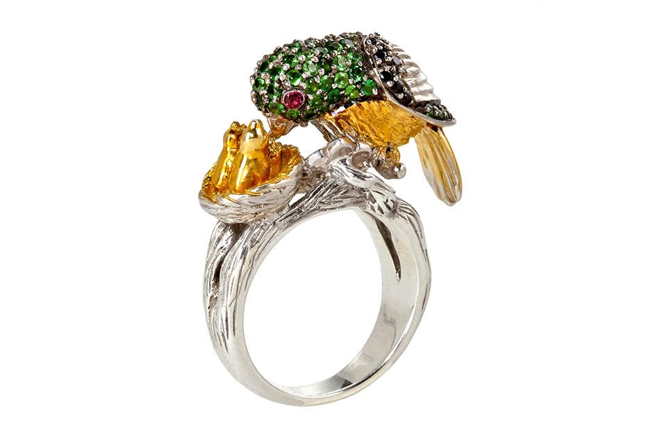 Mother Love Ring in Sterlingsilber mit grünen Granaten, schwarzen Spinellen und rosa Saphiren EUR 490,–